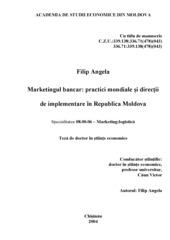Marketingul Bancar - Practici Mondiale si Directii de Implementare in Republica Moldova